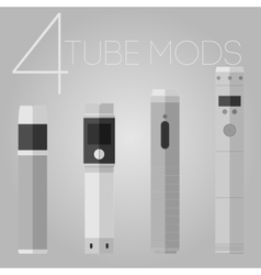 4 vaping tube mods set vector