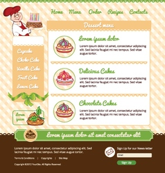 Template for dessert cafe web site vector