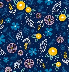 Floral doodle pattern on blue vector