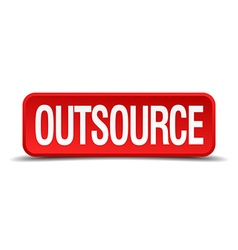 Outsource red 3d square button isolated on white vector