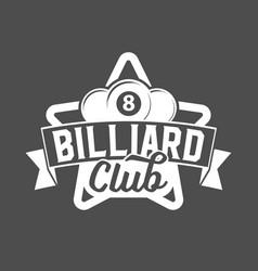 billiards emblems labels and designed elements vector image