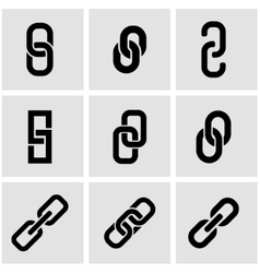 Black chain or link icon set vector