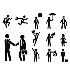 businessman pictogram icons set vector image vector image