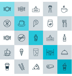 Cafe icons set collection of stop smoke coffee vector