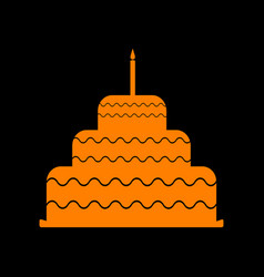 Cake with candle sign orange icon on black vector