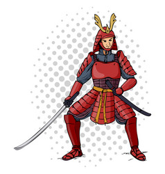 cartoon of an armored samurai vector image