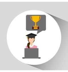 Character graduation online education trophy vector