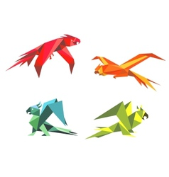 Colorful parrot birds vector