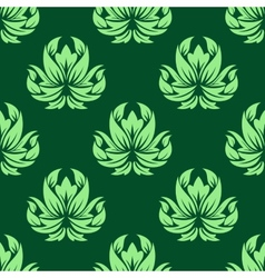 Dark and light green floral seamless pattern vector