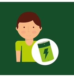 Environment icon boy with green battery vector
