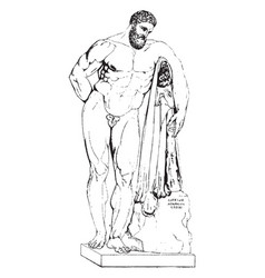 Farnese hercules was found in 1540 in the baths vector