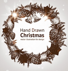Hand drawn christmas wreath vector