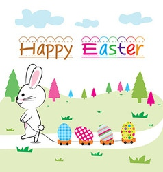 happy easter and bunny vector image vector image