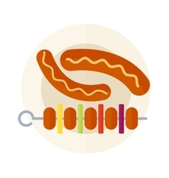Kebab grill on plate vector