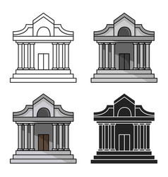museum building icon in cartoon style isolated on vector image