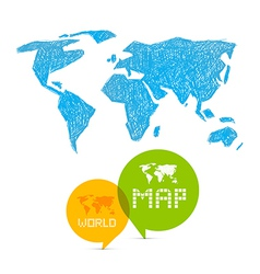 Paper World Map on Blue Background vector image vector image