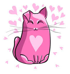 pink cat vector image