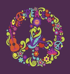 Psychedelic sign with many decorative elements and vector