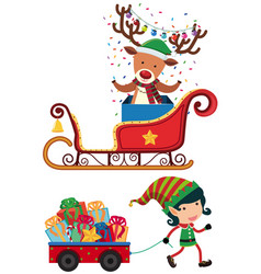 reindeer and elf for christmas vector image
