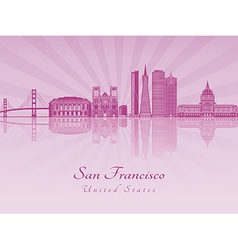 San Francisco skyline in purple radiant orchid vector image
