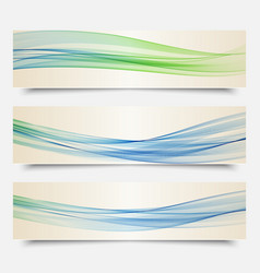 set of banners transparent waves of smoke vector image vector image