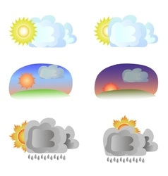 Six variants of weather - sun and clouds vector image vector image