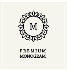 Stylish floral monogram design line art vector