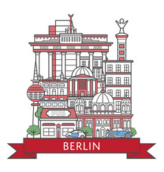 travel berlin poster in linear style vector image vector image