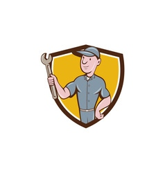 Handyman holding spanner crest cartoon vector