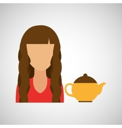 Girl with tea icon vector