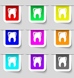 Tooth icon sign set of multicolored modern labels vector