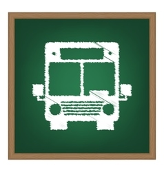 Bus sign  white chalk effect on green vector