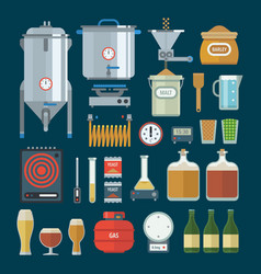 Home brewing factory production items vector