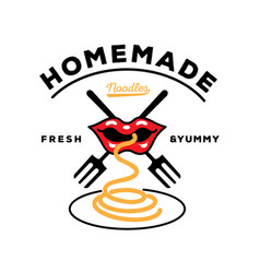 Homemade noodle logo with mouth eat noodle with vector