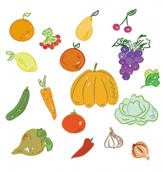 hand-drawn fruits and vegetables vector image
