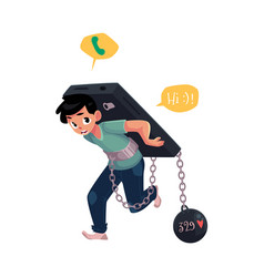 Teenage boy chained to huge smartphone on his back vector