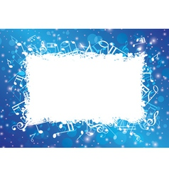 Blue abstract musical background with notes vector