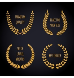 Set of golden laurel wreath on dark background vector
