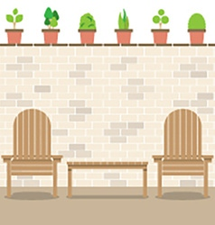 Wooden garden chairs with table and pot plants vector