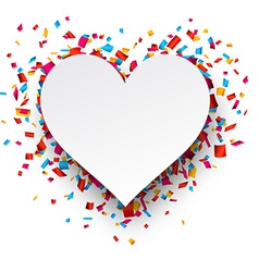 Paper heart love confetti sign vector image