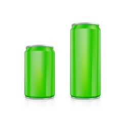 Set of green blank aluminium cans vector image