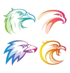 Colorful eagle head logos with rainbow gradients vector