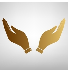 Hand icon prayer symbol vector