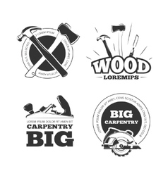 Vintage carpentry labels emblems badges vector