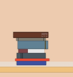Stack of books in flat style vector