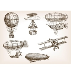 Air transport vintage hand drawn sketch vector