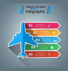 Airplane infographics origami style vector