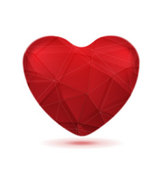 Bright red polygonal heart background vector