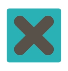 Cancel flat grey and cyan colors rounded button vector