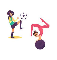 cartoon girls doing sports set vector image vector image